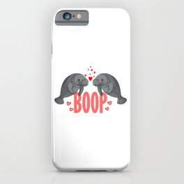 Cute Manatee Kiss Boop Florida Sea Cow Girl Gift iPhone Case