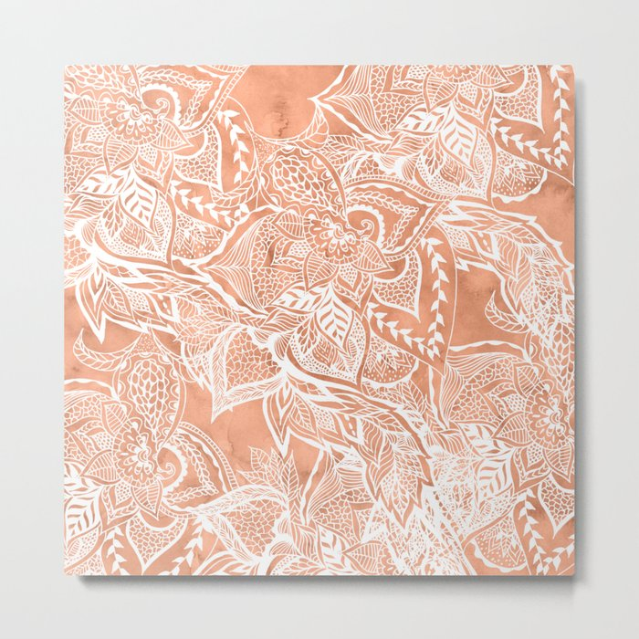 Modern tan copper terracotta watercolor floral white boho hand drawn pattern Metal Print