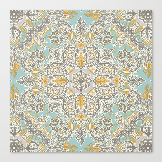 Gypsy Floral In Soft Neutrals Grey Amp Yellow On Sage
