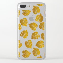 Gold Metallic Foil Photo-Effect Monstera Giant Tropical Leaves Clear iPhone Case