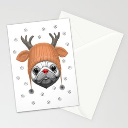 Pug Rudolph Stationery Cards