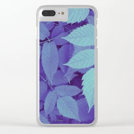 blue fall leaves Clear iPhone Case