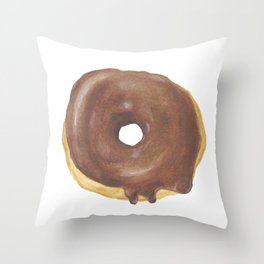 Chocolate Iced Doughnut Throw Pillow