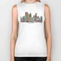 oklahoma Biker Tanks featuring oklahoma city skyline by bri.buckley