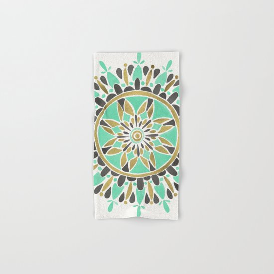 Mint & Gold Mandala Hand & Bath Towel