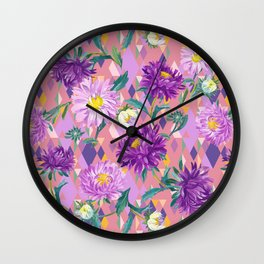 Violet Asters on pink background Wall Clock