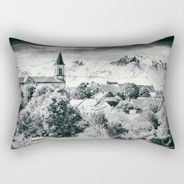 Old French village in countryside Mont Blanc mountains vintage styled Rectangular Pillow