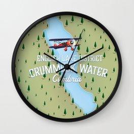 Crummock Water, lake district map travel poster Wall Clock