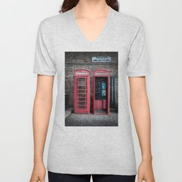 London Red Telephone Boxes Unisex V-Neck