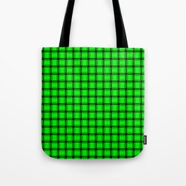 Small Neon Green Weave Tote Bag