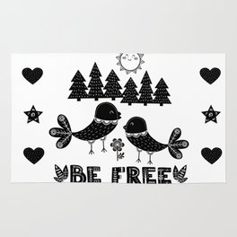 Be Free Birds In Cute Scandinavian Style Rug