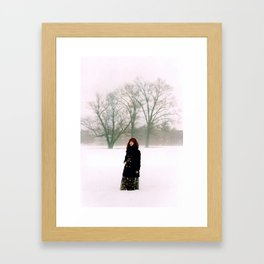 Hints of Red in Fog Framed Art Print