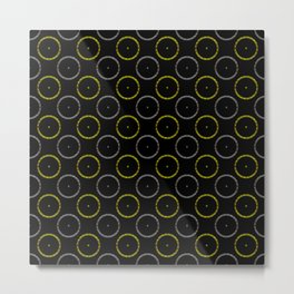 Polka Dot Gold and Silver Rings Pattern Metal Print