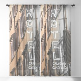 Hotel California // A Modern Artsy Style Graphic Photography of Neon Sign in Europe on Buildings Sheer Curtain