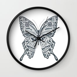 Blue Butterfly Mandala Wall Clock