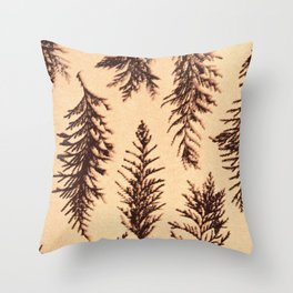 Botanical Pattern 1 (brown) Throw Pillow