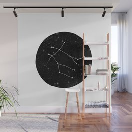 Gemini zodiac constellations astrology star gazer black and white minimalist Wall Mural