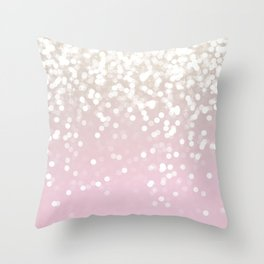 BLUSH GLITTER SPARKLE LIGHTS Throw Pillow