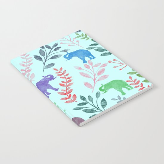 Watercolor Flowers & Elephants II Notebook