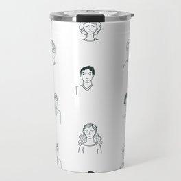 Sketchy People   Pattern Art Travel Mug