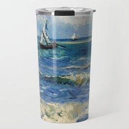 Seascape near Les Saintes-Maries-de-la-Mer by Vincent van Gogh Travel Mug