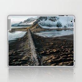 Icelandic black sand beach and mountain road - landscape photography Laptop & iPad Skin