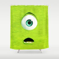 monster inc Shower Curtains featuring Monster Inc Mike by Veylow
