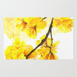 yellow trumpet trees watercolor yellow roble flowers yellow Tabebuia Rug