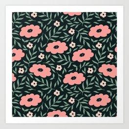 Dark Blush Flowers Art Print