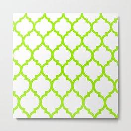 Moroccan GREEN AND WHITE LATTICE DESIGN Metal Print