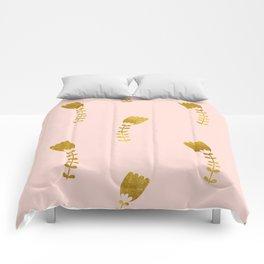 Pink Gold Foil 03 Comforters