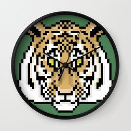 Pixel Tiger Face Wall Clock