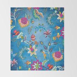 Blue Lapis Velvet Texture Chintz Multicolour Bohemian Floral Pattern Throw Blanket