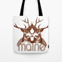 maine Tote Bags featuring Backwoods Maine by One Giant Eye