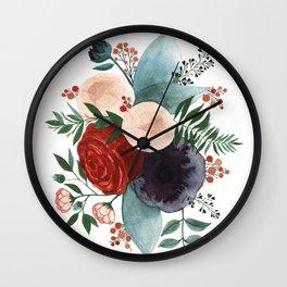 Blue Plum Florals Wall Clock