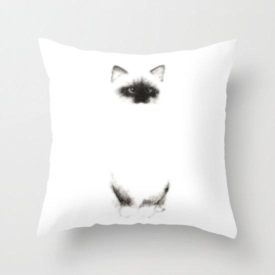 Angora Siamese Cat - Chat Siamois Angora Throw Pillow