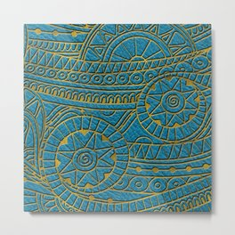 Tribal Ethnic  Pattern Gold on Teal Leather Metal Print