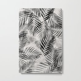 Palm Leaves - Black & White Metal Print
