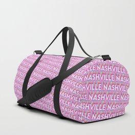 Nashville, Tennessee Trendy Rainbow Text Pattern (Pink) Duffle Bag