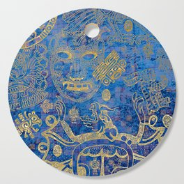 Mexican gold on blue Cutting Board