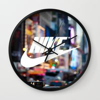 nike Wall Clocks featuring Nike by Pink Berry Patterns