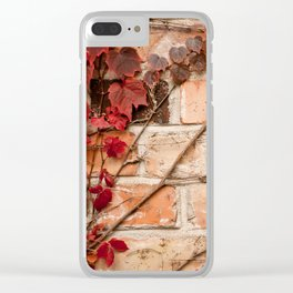 Red ivy leaves creeper Clear iPhone Case