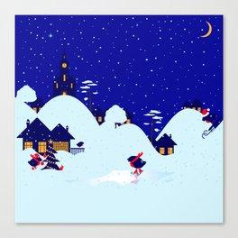 Winter Bullfinch Village Canvas Print