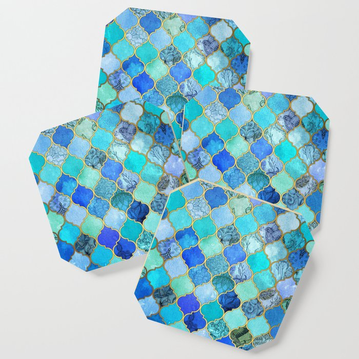 Cobalt Blue Aqua Gold Decorative Moroccan Tile Pattern Coaster