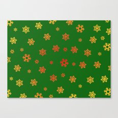 Snowflakes (Red & Gold on Green) Canvas Print