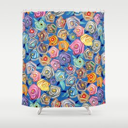 Grandmother Smiles Garden Blue London Shower Curtain