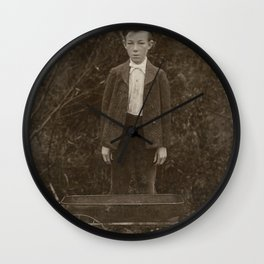 Young Boy with Hat and Wagon - A Vintage Portrait Wall Clock