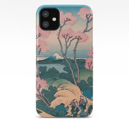 Spring Picnic under Cherry Tree Flowers, with Mount Fuji background iPhone Case