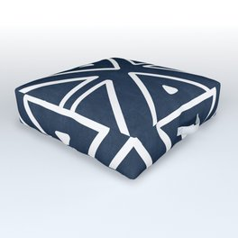 Big Triangles in Navy Outdoor Floor Cushion