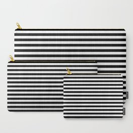 Stripe Black & White Vertical Carry-All Pouch